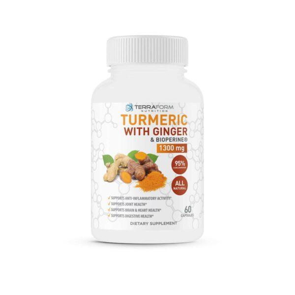 Turmeric Curcumin with Ginger & BioPerine - 60 Capsules - TerraForm Nutrition-0
