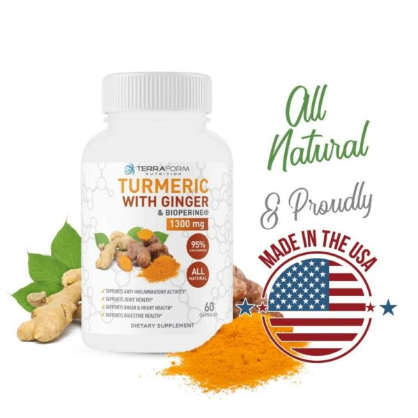 Turmeric Curcumin with Ginger & BioPerine - 60 Capsules - TerraForm Nutrition-3269