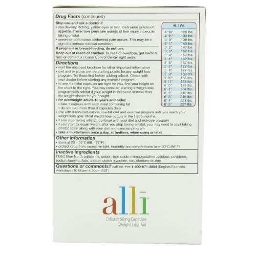 Alli Weight Loss Aid Refill 60mg - 120 Capsules-3666